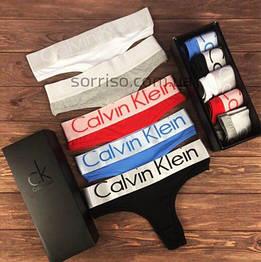 Подарочный набор женского белья Calvin KleinSteel стринги реплика - 5 штук