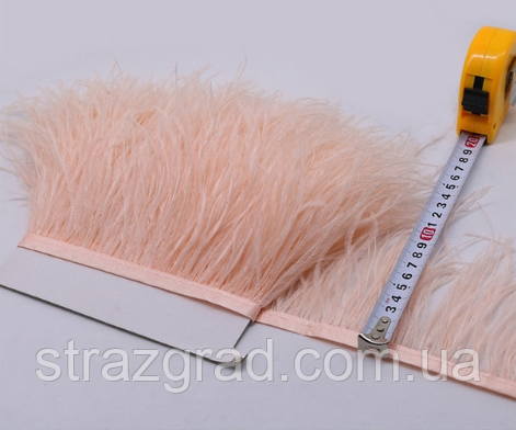 Пір'яна тасьма страусина. Колір Рожевий Персик. Перо 10-15см.Ціна за 0,5 м.