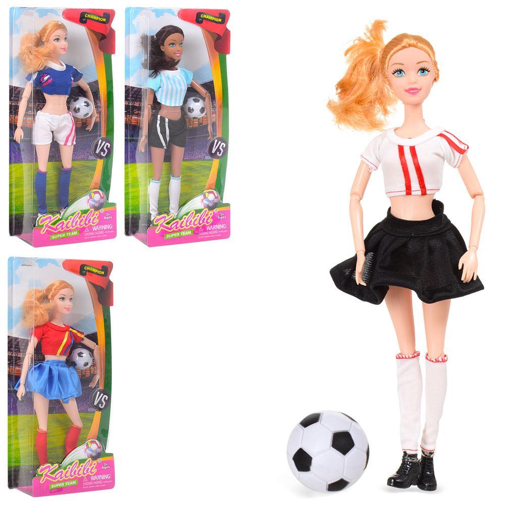 Кукла BLD159 (24шт) шарнирная, 30см, футболистка, мяч, 4вида, в слюде, 15-33-5,5см