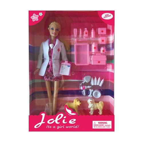 Кукла K369-11 (36шт) доктор/ветеринар, 29см, собака 2шт, 5см, аксессуары, в кор-ке, 32,5-23-5см