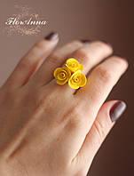 """Кольцо """"Желтые розы"""" . Бижутерия ручной работы"""
