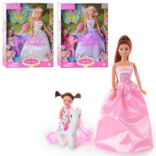 Кукла DEFA 8077 (36шт) с дочкой, лошадка, аксессуары, 3 вида, в кор-ке, 32,5-24-6см