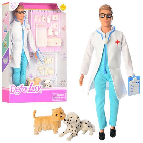 Кукла DEFA 8346B (36шт) доктор,29см, чемодан, инструменты, собачка 2шт, в кор-ке, 23-32,5-5см