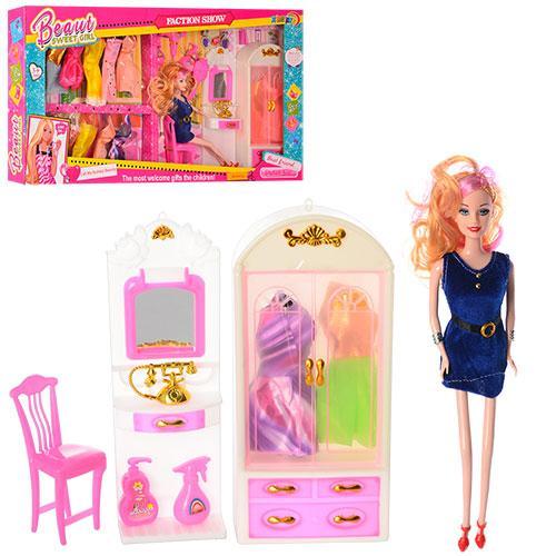 Кукла с нарядом 5502 (24шт) 28см, платье 14шт, шкаф, трюмо, аксессуары, в кор-ке, 70-33-6,5см