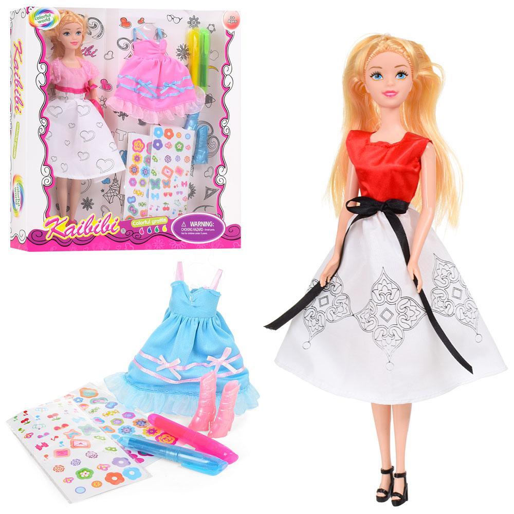 Кукла с нарядом  BLD170-1 (24шт) 30см,платье-раскраска,наклейки,маркеры,обувь, 2в,в кор,30-32-5см