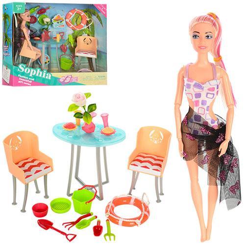Кукла JX100-69 (24шт) 29см, шарнирная, стол, стул,спасат.круг, аксессуары, в кор-ке, 34-30-9,5см