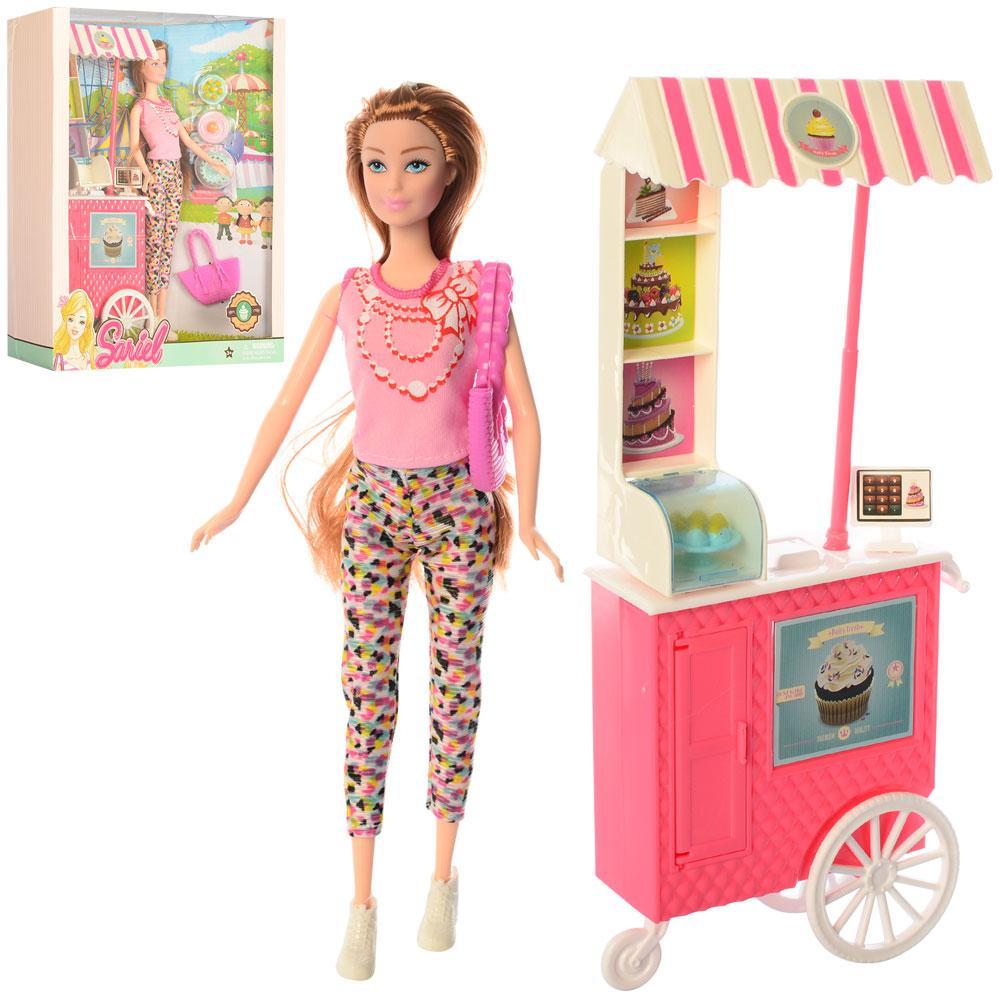 Кукла 7727-C1 (36шт) 28см, кафе на колесах 31-12см, аксессуары, в кор-ке, 28,5-33-9см