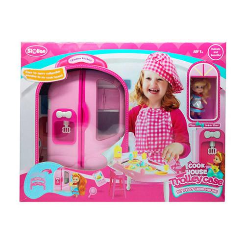Мебель QL048 (8шт) кухня-чемодан(ручка+колес)33см,посуда,продукты,кукла,в кор-ке,54,5-42-15см