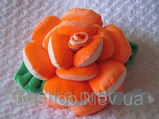 Подушка ручной работы Роза коралл