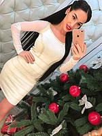 Женское нарядное бандажное платье белое рукава сетка