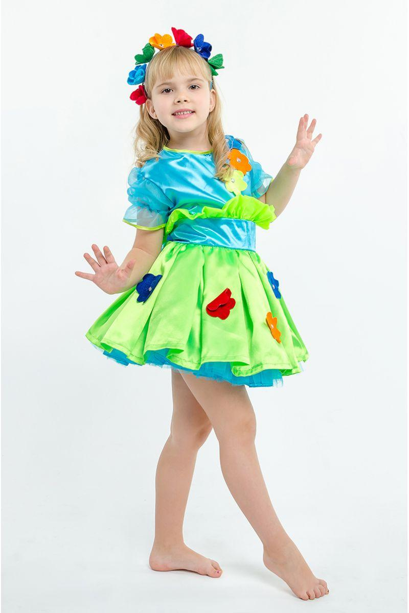 Костюм карнавальный Весна, весенние цветы голубого цвета для девочки