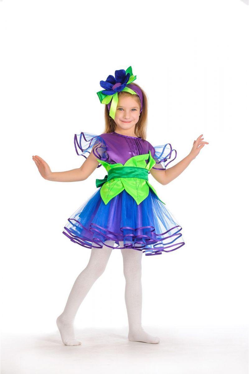 Костюм карнавальный Незабудка пышная фиолетового цвета для девочки