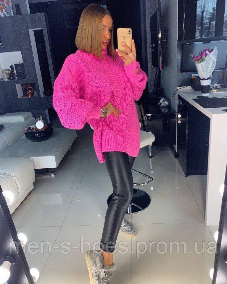 Вязаный свитер - туника Оверсайз женский «TESS» 42-46,48-52 розовый .
