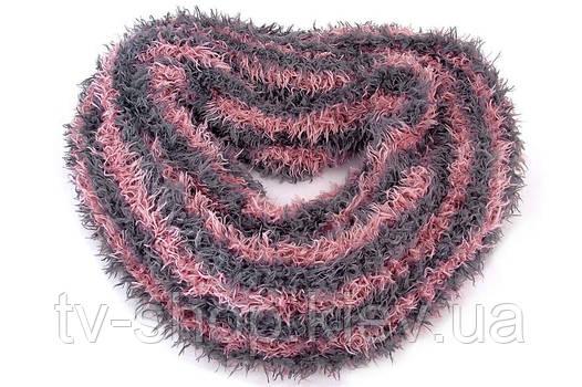 Шарф-трансформер ПОЛОСКА серо-розовая