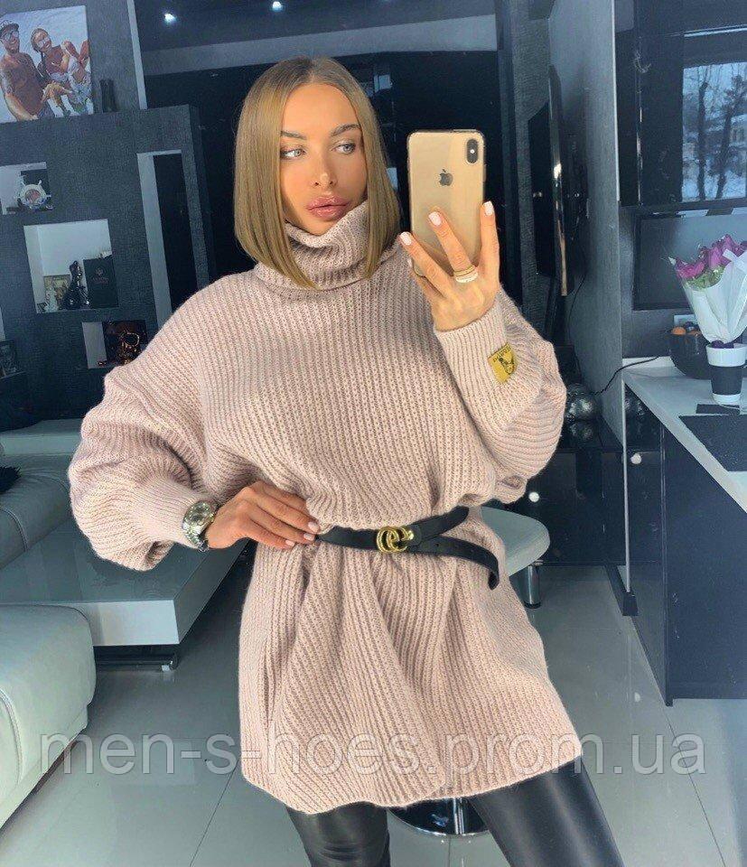 Вязаный свитер - туника Оверсайз женский «TESS» 42-46,48-52 цвет пудра .