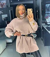 Вязаный свитер - туника Оверсайз женский «TESS» 42-46,48-52 цвет пудра ., фото 1