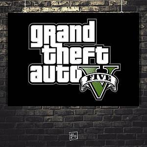 Постер Grand Thief Auto, GTA, ГТА, логотип. Размер 60x42см (A2). Глянцевая бумага