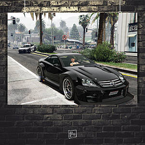Постер Grand Thief Auto, GTA, ГТА, скриншот (60x85см)
