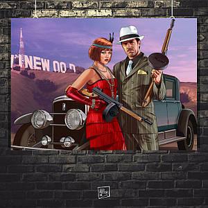 Постер Grand Thief Auto, ГТА, GTA Online. Размер 60x42см (A2). Глянцевая бумага