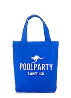 Коттоновая сумка синего цвета POOLPARTY, фото 1