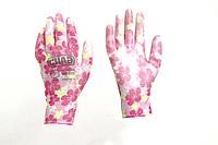 Перчатки с ПУ покрытием р8 (цветные садовые манжет с подвесом/хедером)