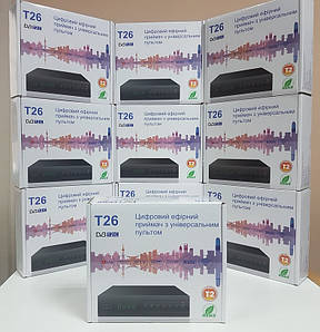 Тюнер Т2 T26 (GoldenStream / uClan / u2c) DVB-T2 + пульт обучаемый DVB-C