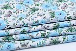 """Ткань хлопковая """"Бабочки на голубой цветочной поляне"""" на белом (№1818а), фото 4"""