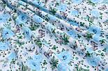 """Ткань хлопковая """"Бабочки на голубой цветочной поляне"""" на белом (№1818а), фото 6"""