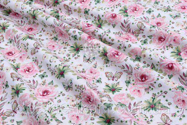 Бязь с цветочками розового цвета и бабочками
