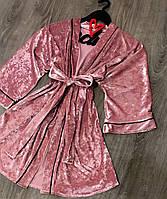 Велюровый халат с черным кантом