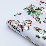 """Ткань хлопковая """"Большие розовые розы и бабочки"""" на белом (№1821а), фото 4"""