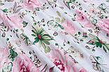 """Ткань хлопковая """"Большие розовые розы и бабочки"""" на белом (№1821а), фото 3"""