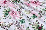"""Ткань хлопковая """"Большие розовые розы и бабочки"""" на белом (№1821а), фото 6"""
