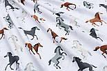 """Хлопковая ткань """"Серо-коричневые лошадки"""" на белом (№1824), фото 3"""