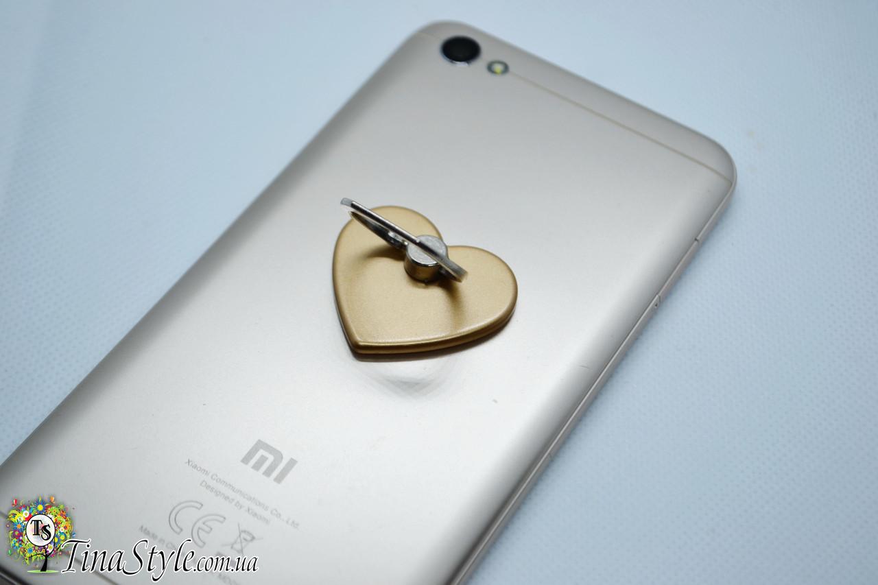 Держатель для телефона Попсокет Сердце на палец золотой цвет PopSocket кольцо попсокеты iPhone золото