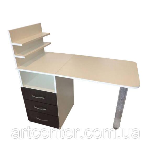 Стол для маникюра, маникюрный стол с полочкой для лаков