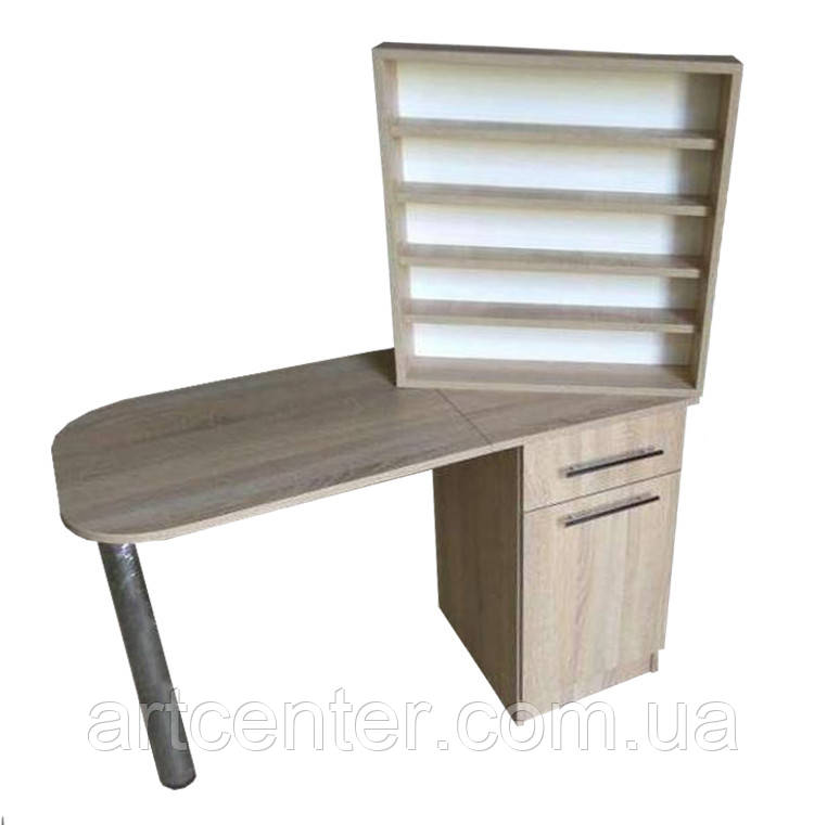 Стол для маникюра однотумбовый с выдвижными ящиками и полкой для лаков