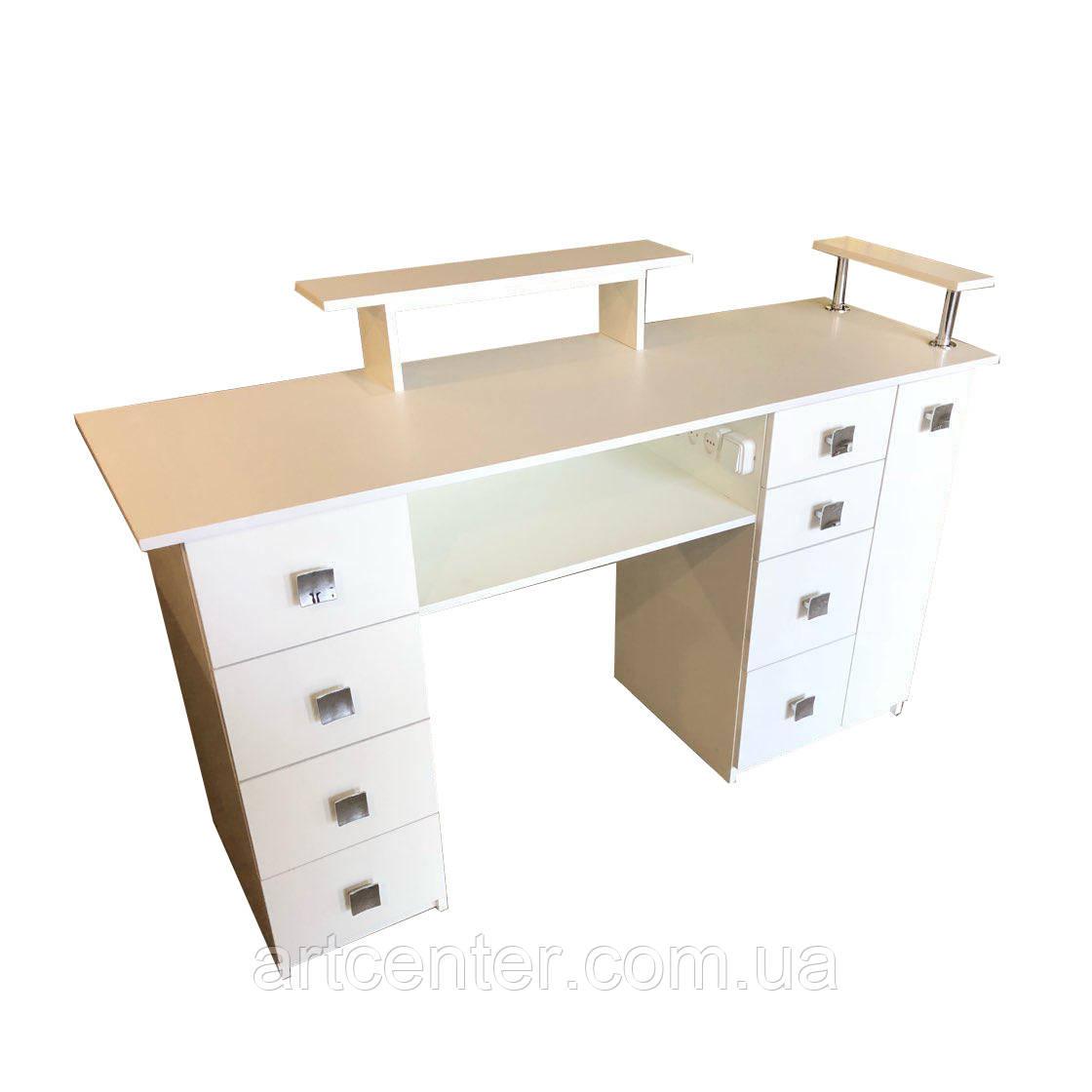 Стол для маникюра, маникюрный стол белый с 8 ящиками и карго