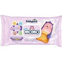 Детские влажные салфетки Ultra Compact Mini Momo с клапаном, 100 шт