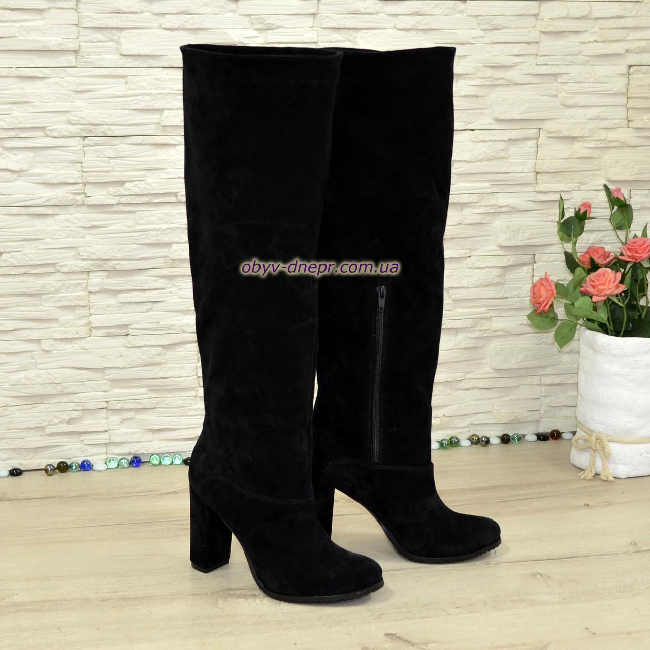 Замшевые ботфорты трубы на устойчивом каблуке, цвет черный