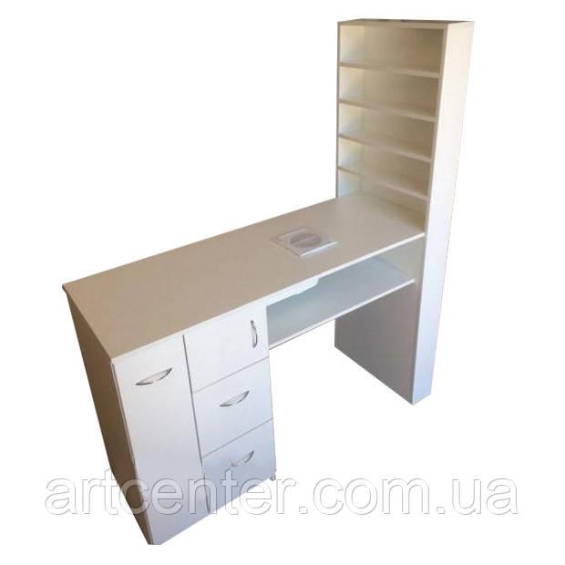 Стол для маникюра с полочками для лаков, маникюрный стол белый однотумбовый