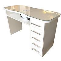 Маникюрный стол , стол для маникюра белого цвета со стеклом на столешнице