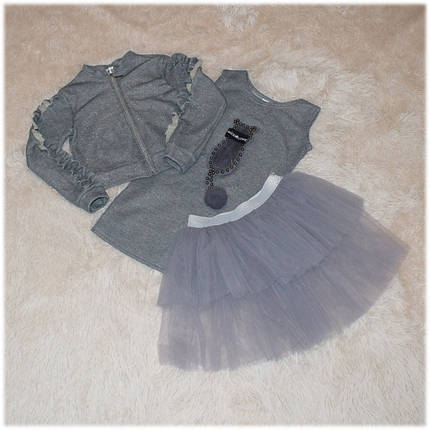 Костюм нарядный на девочку бомбер, юбка и платье Турция размер  146, фото 2