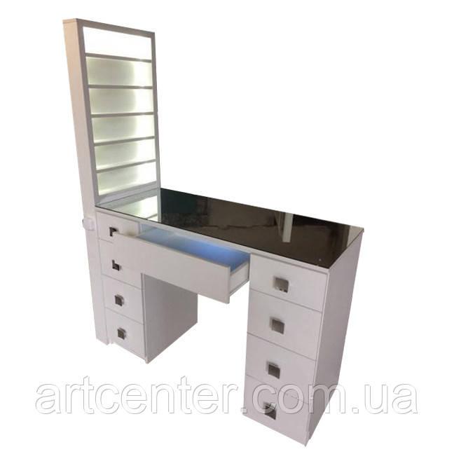 Стол для маникюра с витриной для лаков, маникюрный стол с Уф лампой