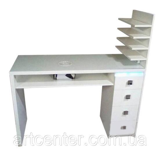 Стол для маникюра в полочкой для лаков, маникюрный стол с  бактерицидной УФ лампой