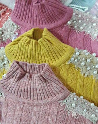 Теплая кофта на девочку полушерсть кораллового цвета в жемчужинах Турция  размер 110 116, фото 2