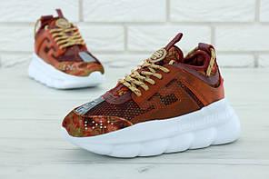 Женские кроссовки Versace Chain Reaction Sneakers. Коричневые. Замша