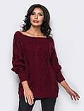 Стильный удлиненный свитер с рукавом реглан, фото 3