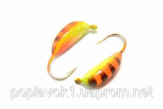 Мормышка вольфрамоя Банан рижский 32 (оранжевый, полосатый) 2.5мм