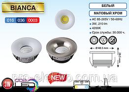 """""""BIANCA""""Світильник врізний коло,корпус метал d-48mm ip20 3W 4200K 210Lm колір-білий/мат.хром (85-265v)"""